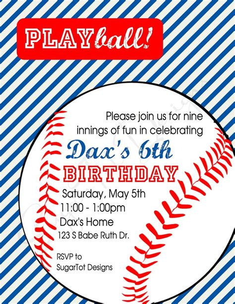 baseball themed invitation template baseball birthday invitations vertabox