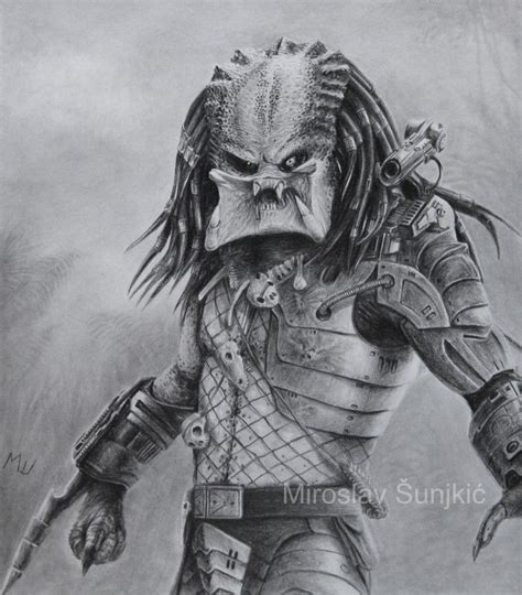 pencil drawing of predator predator graphite and aliens