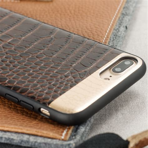 croco genuine leather iphone     case brown