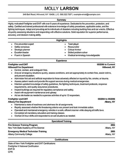 Firefighter Resume by 8 Best Resume Images On Firefighter Resume