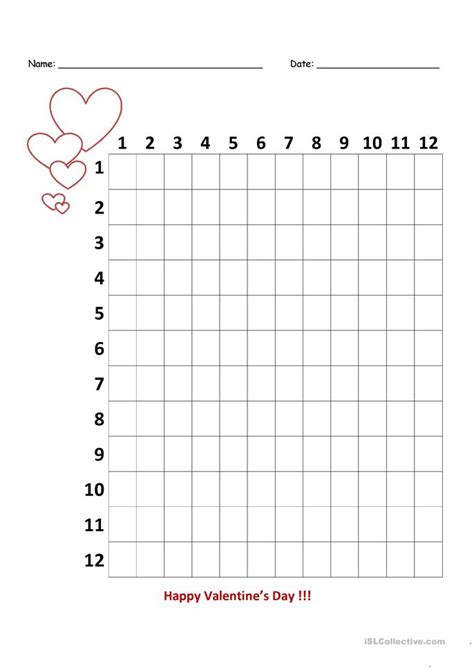 printable multiplication table 3rd grade multiplication chart to 12 blank multiplication chart to
