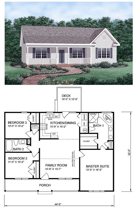get home blueprints ranch homeplan 45476 has 1258 square feet of living