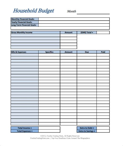 11 Home Budget Sles Sle Templates Simple Personal Budget Template