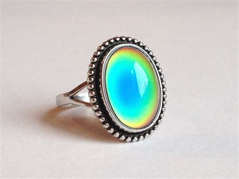 sterling silver 925 mood ring 14x10 mm color changing by