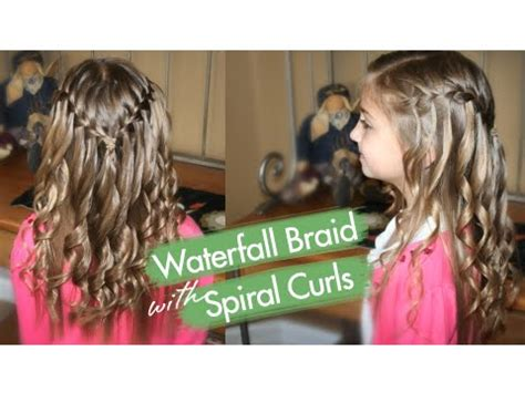 8 year old fancy hair styles waterfall braid with spiral curls prom hairstyles cute