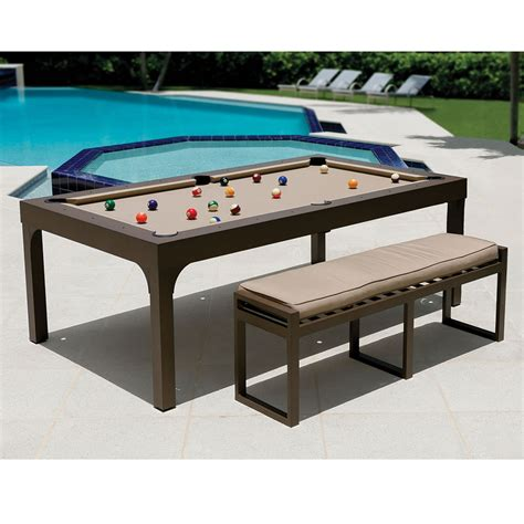 pool table dining table the outdoor billiards to dining table hammacher schlemmer
