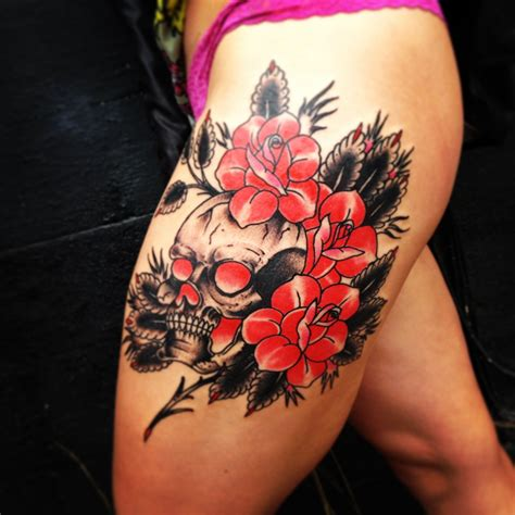 roses and diamonds tattoo american traditional skull and roses by reynoso of