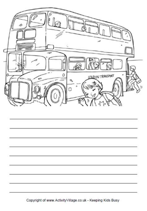 printable handwriting paper activity village story paper london bus
