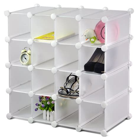shoe cube storage free standing interlocking 16 pairs plastic cube display