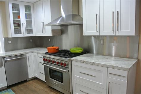 stainless steel backsplash with trim