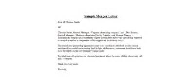 merger announcement template sle merger letter business letter exles