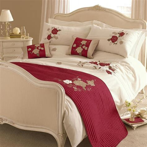 bedroom cover sets cream red gold embroidered floral bedding set duvet cover