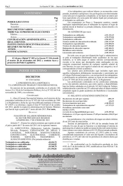 salarios minimos 2016 costarica decreto de salarios minimos primer semestre costa rica
