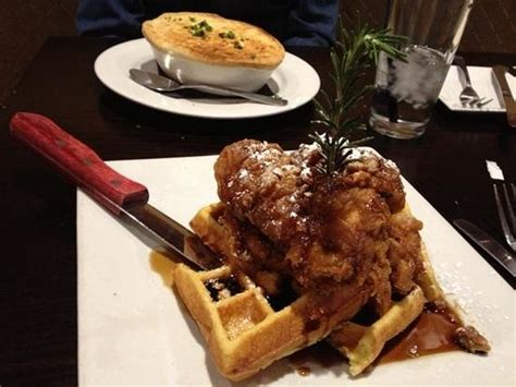 brooklyn comfort food amazing chicken and waffles plus chicken pot pie picture