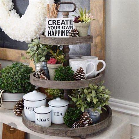 farmhouse spring island vignette thanksgiving kitchen tiered tray vignette home containers pinterest