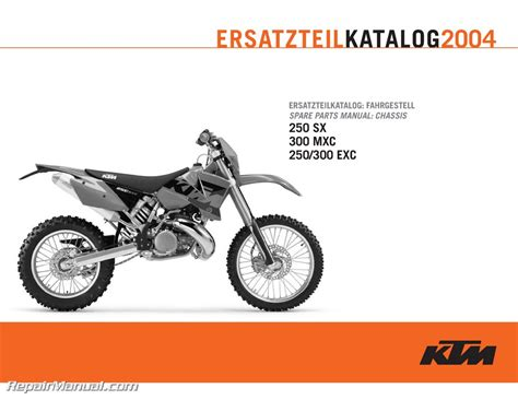 Ktm Spare Parts Australia 2004 Ktm 250 300 Sx Mxc Exc Chassis Spare Parts Manual