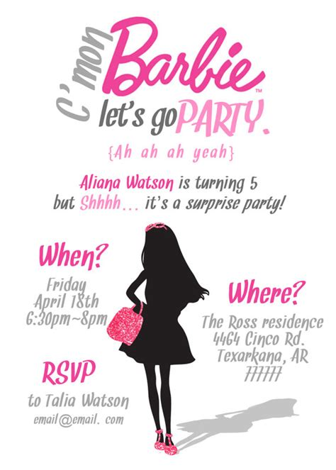 printable birthday invitations barbie items similar to simple barbie invitation printable pdf