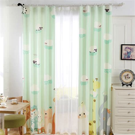 Nursery Curtain Material Fresh Light Green Zoo Patterned Nursery Curtains