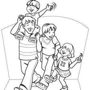 Family Sitting On Bench Park Coloring Page Sky Sketch sketch template