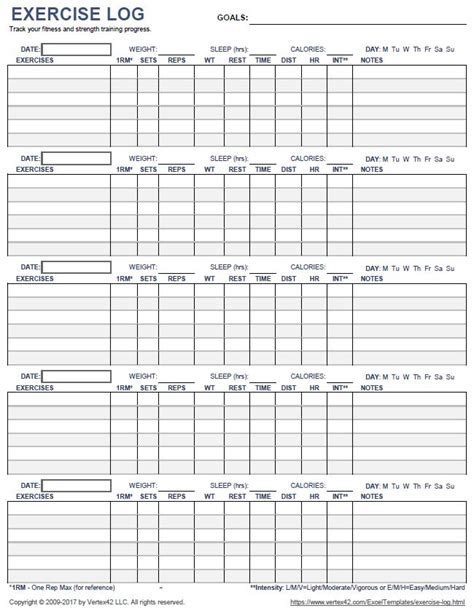 a printable exercise log to track your daily fitness and strength progress