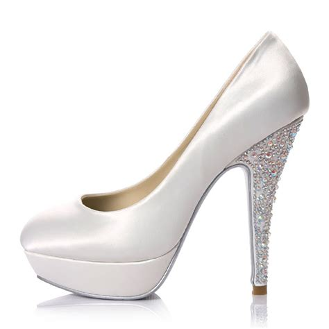 high heels platform white satin jeweled bridal shoes