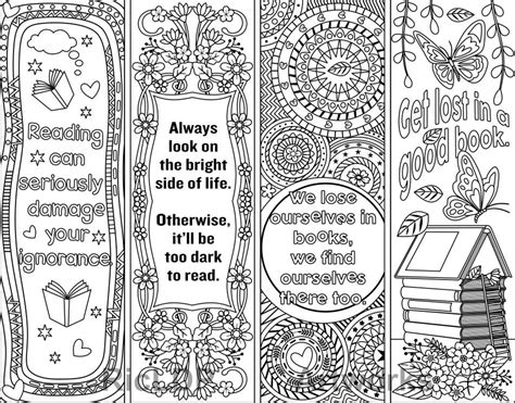 printable bookmarks to colour pdf printable coloring bookmark templates with four designs plus