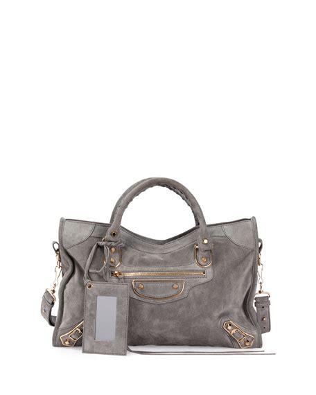 Balenciaga 2 Tone Suede Satchel by Balenciaga Metallic Edge Suede City Bag