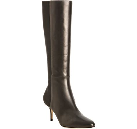 jimmy choo black leather kathy stretch back boots in