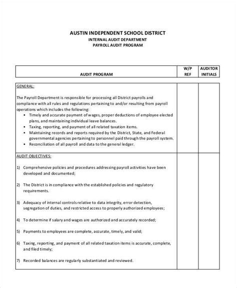 audit program template 7 audit programs free sle exle format