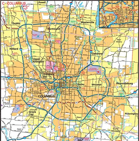 map of columbus pages 2011 2014 ohio transportation map archive