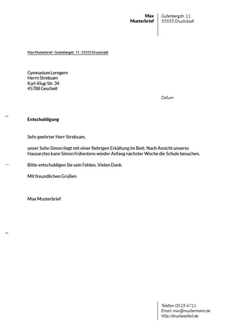Kostenlose Vorlage Entschuldigung Schule Drucke Selbst Briefvorlagen F 252 R Schulentschuldigungen Unterrichtsbefreiung Und