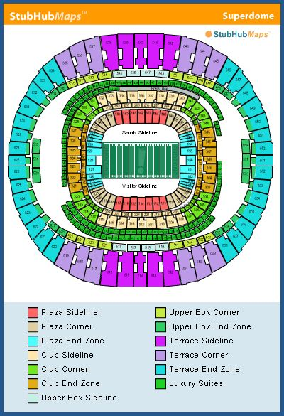 saints superdome seating map new orleans saints seating chart mercedes superdome