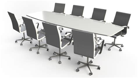 Large White Meeting Table Large White Conference Table Beautiful Retangular Shape Modern White Artificial Marble Top