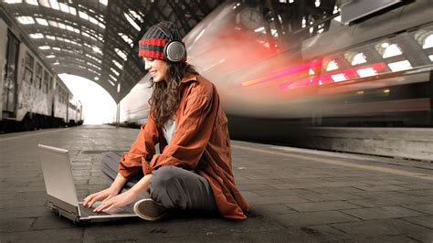 wallpaper laptop girl wallpaper notebook laptop headphones girl train smile