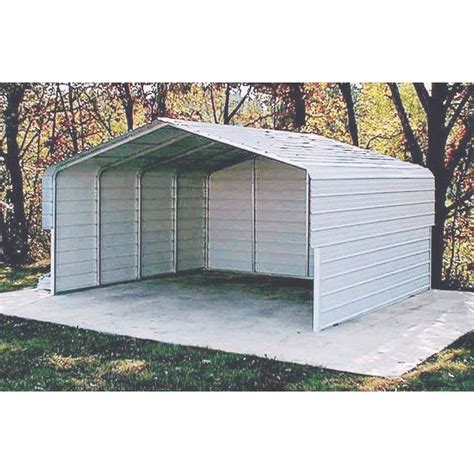Metal Roof Car Shelter Versatube Two Vehicle Steel Shelter 19ft L X 20ft W X 7