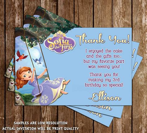 sofia the first swing novel concept designs sofia the first thank you card swing