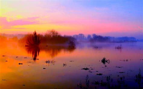 hd river fog wallpaper