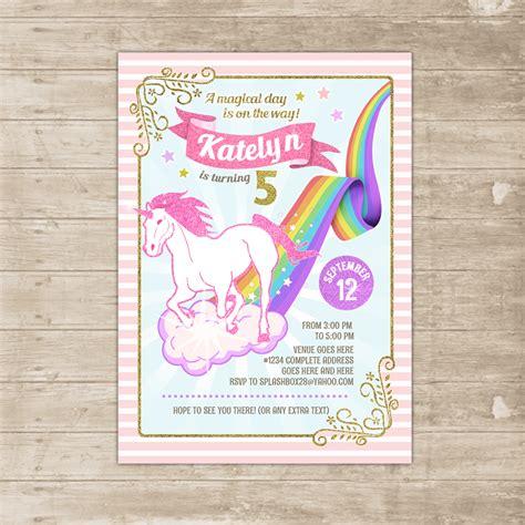 printable unicorn birthday invitations unicorn rainbow invitation flying unicorn invite pink and