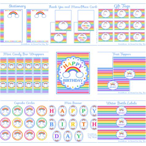free printable rainbow party decorations free rainbow party printables and extras free party