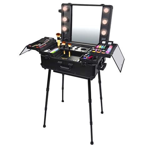 makeup train case with lights shany studio togo wheeled trolley makeup case organizer