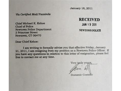 Resignation Letter Correctional Officer Read Resignation Letters Of 2 Officers At Center Of Union Probe Newtown Ct Patch