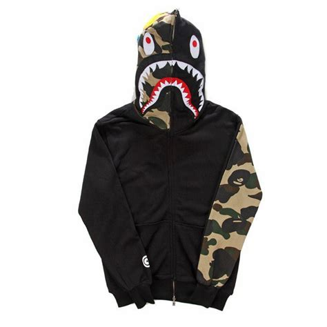 Jaket A Bathing Ape Bape Shark Black Wash fashion brand mens clothing bape shark hoodies hoody sweatshirts jacket autumn and