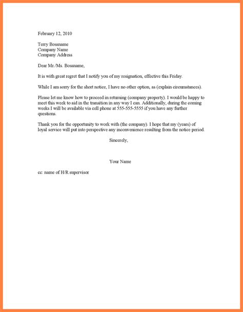 6 sle of notice resignation letter notice letter