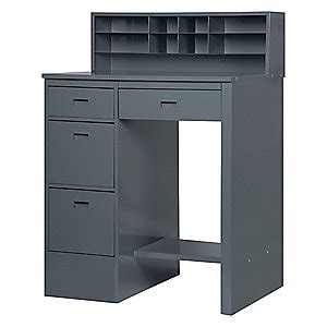 Shop Desks by Edsal Open Shop Desk Gray Steel Recessed 45gr93 660