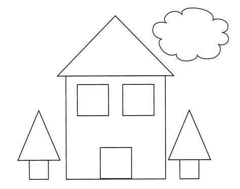 imagenes para colorear con figuras geometricas casa con cuadrados y triangulos dibujalia dibujos para