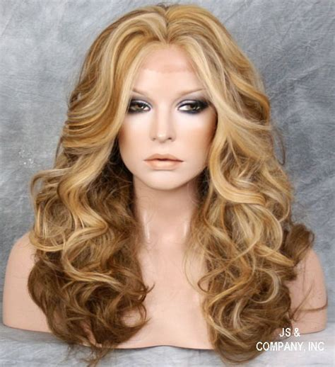 lightened front hair dark light blonde mix heat safe lace front wig curly long