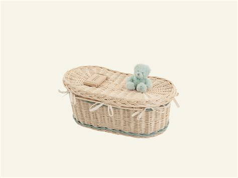 From Crib To Coffin by Baby Crib Casket With Blue Bands Wicker Willow Coffins