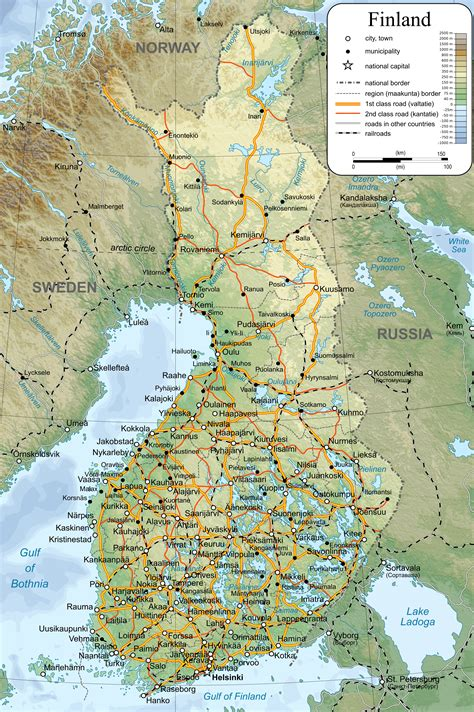 map of with cities large detailed map of finland with cities and towns