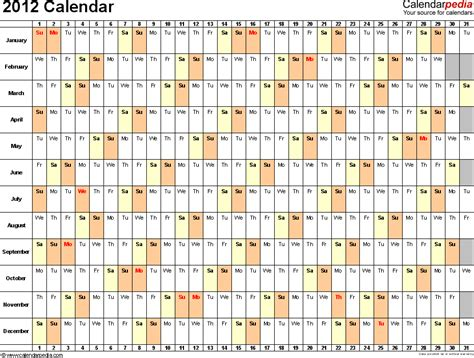 2012 printable monthly calendar excel template 2012 calendar excel 10 free printable templates xls xlsx