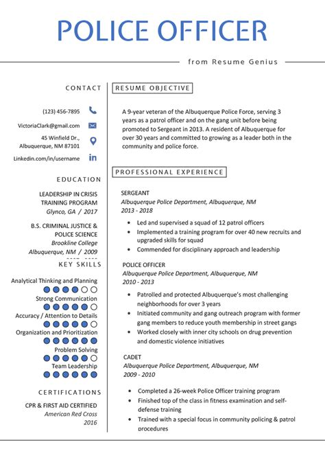 police officer resume templates unique resume profile examples for
